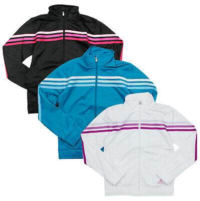Adidas Youth Girls Pursuit Full Zip Up 3 Stripe Track Jacket, Color Options