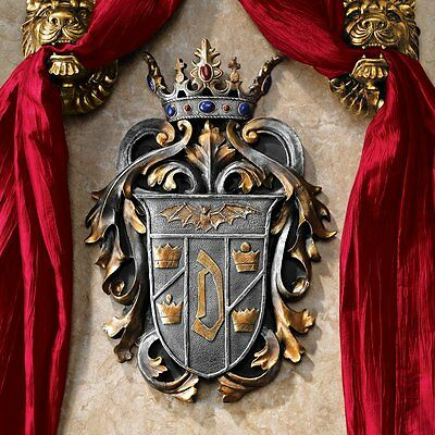 Count Dracula Medieval Coat of Arms Crowned Jewels Plaque Wall Sculpture NEW
