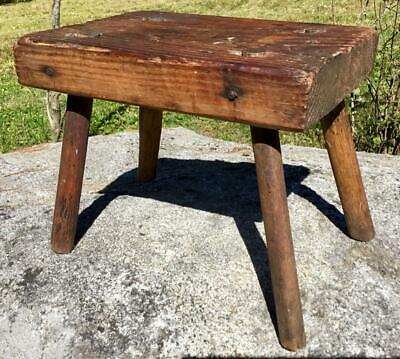Antique Primitive Wood Cricket Foot Rest Stool Mortise & Tenon Joint Thick Wood