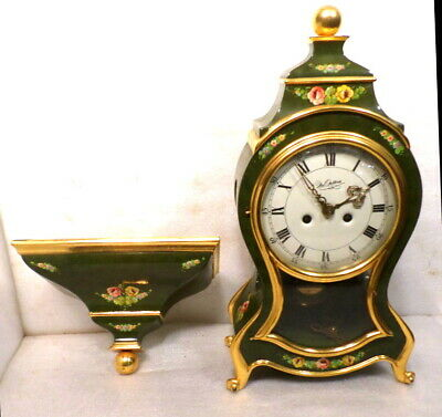 Beautiful Swiss Style Vintage Boulle Clock With Matching Wall Bracket