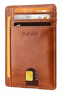 Buffway Slim Minimalist Front Pocket RFID Blocking Leather Wallets for Men Wo...