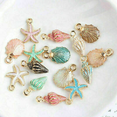 13Pc/Set Mixed Starfish Conch Shell Metal Charms Pendant DIY Jewelry Making Xmas