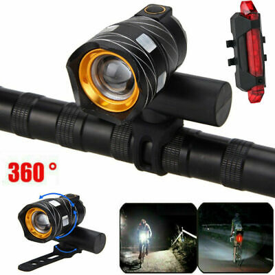 15000LM T6 LED MTB Bicycle USB Rechargeable Lights Bike Headlight Rear+Front Set