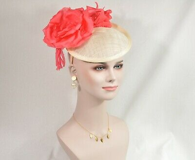 Ivory/Coral Silk Flower with Sinamay Fascinator Hat Kentucky Derby Wedding Tea