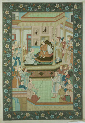 Indian School - Large Mid 20th Century Gouache, Mughal Ruler and Emissaries