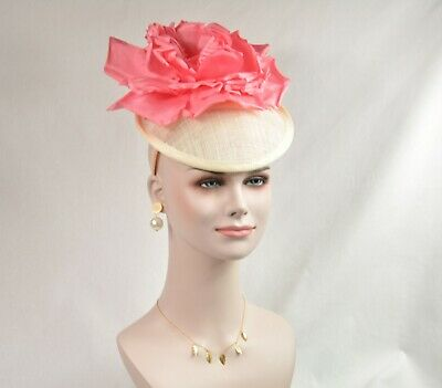 Ivory Coral Silk Flower with Sinamay Fascinator Hat Kentucky Derby Wedding Tea