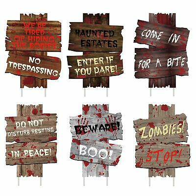 6PCS Halloween Decorations Yard Signs Stakes Beware Props Outdoor Decor Scary