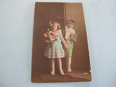 Children real Photo Hand tinted France Postcard