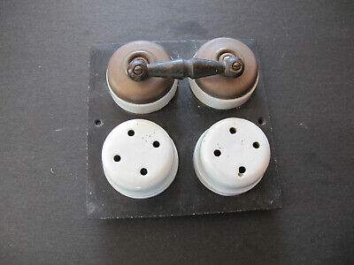 Victorian Double Brass and Porcelain Light Switches on Board
