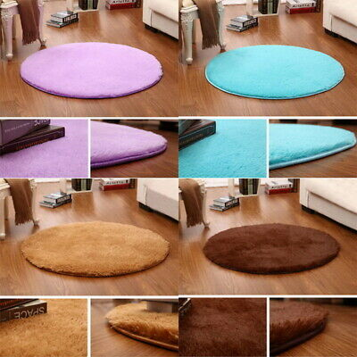 NEW Fluffy Round Rugs Anti-Skid Shaggy Area Rug Dining Room Carpet Floor Mat