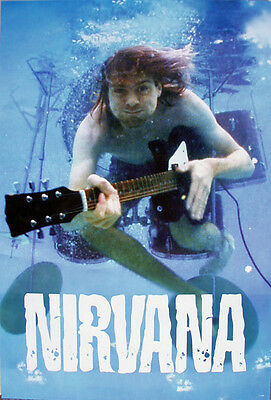 """Nirvana """"Kurt Cobain Swimming In Pool With His Guitar"""" Poster From Asia"""