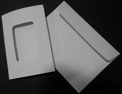 DIY Greeting Card  - Handmade Embossed Rectangle  WINDOW CARDS x 5 + ENVELOPES
