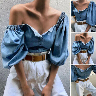 Women Casual Baggy Tops Button Down Off Shoulder Blouse Lantern Sleeve Shirts