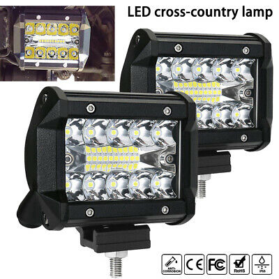 4x 4 inch 200W CREE LED Light Bar SPOT FLOOD 3Row Offroad Work Fog Lamp
