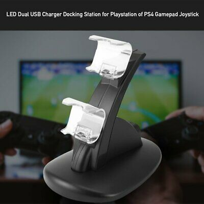 LED Dual USB Charger Docking Station for Playstation of PS4 Gamepad LK