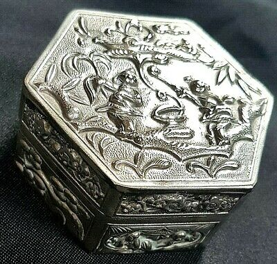 Gorgeous Antique Late 19th Century Chinese Export White Metal Box c1890