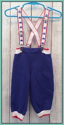 🔴 80's Vintage Infant Toddler Carter's Blue Sweatpants Pelican Suspenders 12M