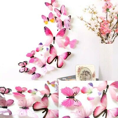 12pcs 3D Butterfly Wall Stickers Colorful Art Decal Room Decorations Decor DIY Q