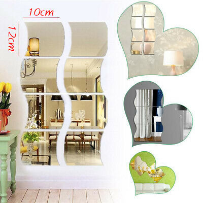6x Self Adhesive Mirror Tiles Kitchen Wall Sticker Stick on Decal Home Decor N