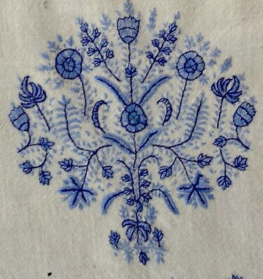 fine mideastern antique textiles: white wool w embroidery in blue shades 44x11""