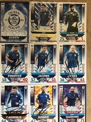 Topps Spfl Match Attax Queen Of The South Fc 2018/19 Fully Signed Dobbie Dykes