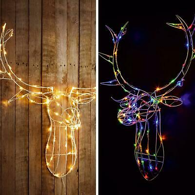 80 LED 3D Light Up Reindeer Stag Head Xmas Wall Decoration White/Multi Colour