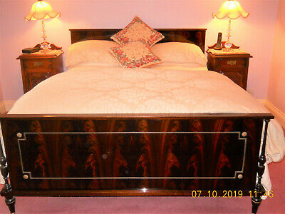 Beautiful  Grand  Antique French Flamed mahogany double bed frame