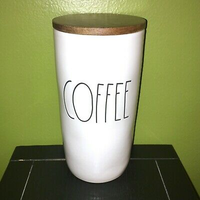 """RAE DUNN Artisan Collection LL """"COFFEE"""" 8.5"""" Canister With Wood Lid By Magenta"""