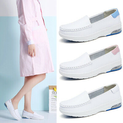 Women Nurse Shoes Leather White Slip Ons Comfort Loafers Air Cushion Work Shoes