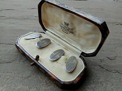 PAIR OF ANTIQUE ART DECO SOLID STERLING SILVER CUFFLINKS 6.4g