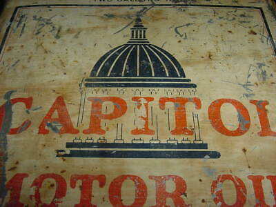 1920s Vintage ATLANTIC CAPITOL MOTOR OIL Old 2 gal. Square Tin Oil Can