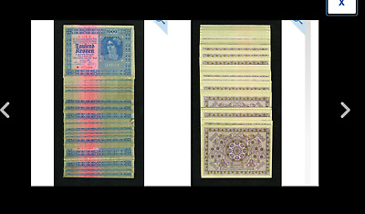 Austria-Hungary 1000 Kronen 1922 Pick 78 EIGHTY-ONE Examples CU NOTES
