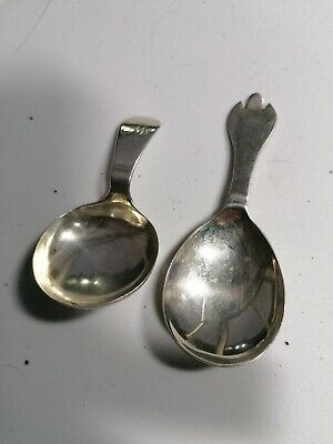 Antique / Vintage Sterling Silver Tea Caddy Spoons - Arts & Crafts? - Lovely