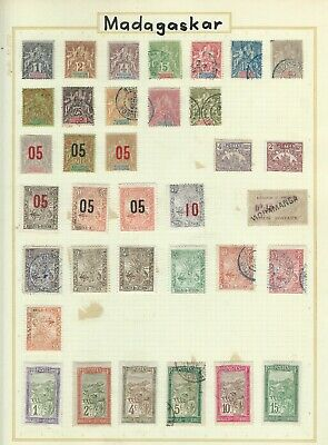 French Madagascar - Good Mm/Fu Collection On Album Page
