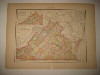 Antique 1895 Virginia Dated Railroad & Stops Map Richmond Detailed Superb Nr