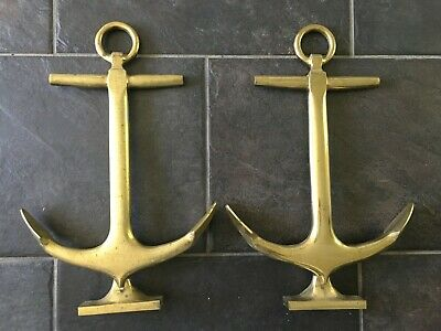 """Vintage Brass Anchor Nautical Fireplace Andirons 18"""""""