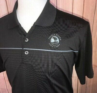ADIDAS Puremotion Cool Max Mens Black Golf Shirt Pebble Beach Short Sleeve Sz M