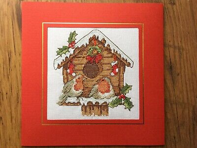 "EX LGE COMPLETED/FINISHED CROSS STITCHED CHRISTMAS CARD--BIRDHOUSE  (7.5""x7.5"")"