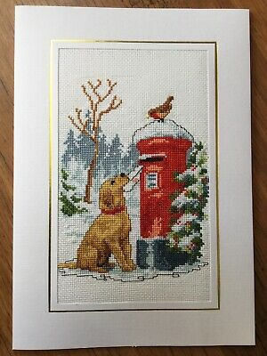 EX LGE COMPLETED/FINISHED CROSS STITCHED CHRISTMAS CARD-PUPPY AND POSTBOX (10x7)