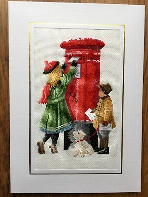 EX LGE COMPLETED/FINISHED CROSS STITCHED CHRISTMAS CARD CHRISTMAS WISHES- (10x7)
