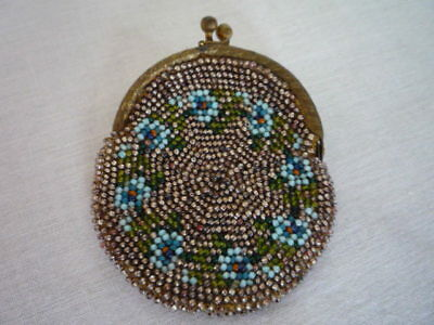 Antique Glass Micro Bead Beaded Coin Change Purse Chatelaine