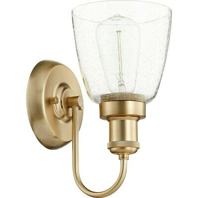 Quorum 1 Light Clear/Seeded Wall Mount, Aged Brass - 548-1-80
