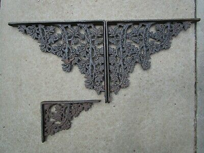 Vintage Molded Black Wrought Iron Shelf Brackets Acorns Oak leaves 3 pcs