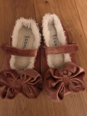 Girls Next Pink Velvet Bow Slippers, Size 10, Good Condition