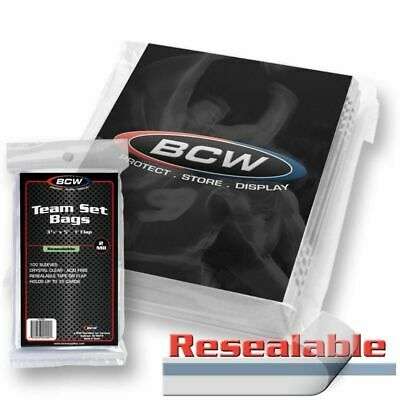 200 BCW RESEALABLE TEAM SET BAGS Card Sleeve Holders
