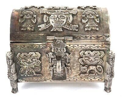 .Stunning Vintage / Heavy / High Relief Sterling Silver Chest. Mayan Inca Aztec