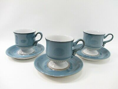 Denby Castile Cup & Saucer Set (3 Sets) Blue Tan Coffee Tea Teacup Mug England