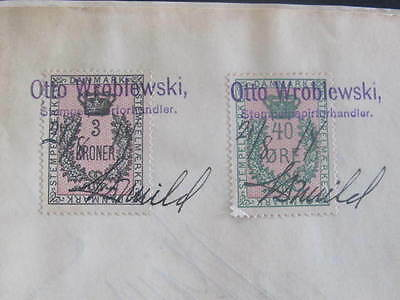 1914 3 4 & 50 ORE Denmark Duty Revenue Stamps on Document with wax seal