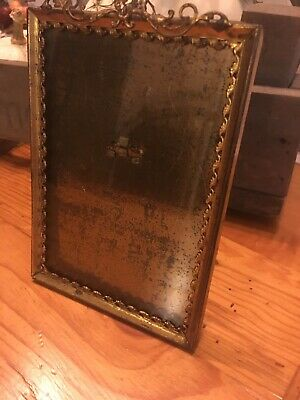 "Vintage Picture Frame Victorian Gold Toned With Filigree & Metal Easel 4.25""x6""."