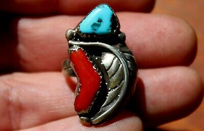 Old Frank Nutaima Hopi Sterling Silver & Turquoise Stone & Red Coral Ring